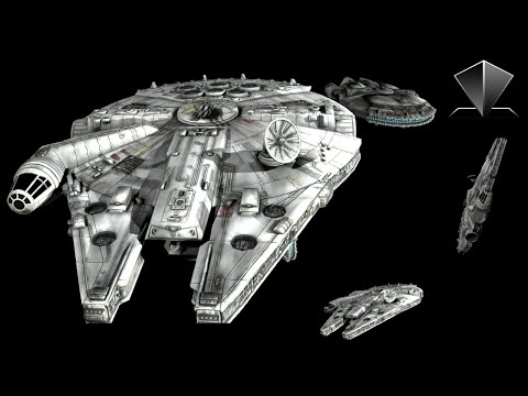 Star Wars Millennium Falcon - Pyramid Hologram Video - 4 Sides! Holographic Screen Down 3D [4K]
