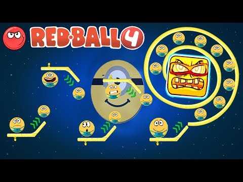 MINION BALL [ RED BALL 4 ] YELLOW BOSS and ENEMY GRAVITY ON MOON all levels