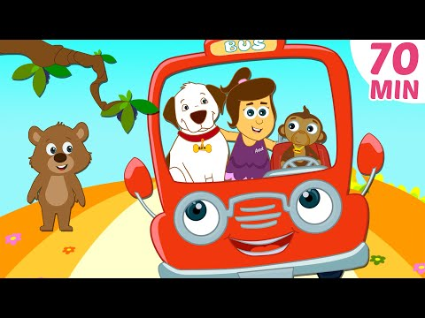 Wheels On The Bus | Red Bus | Plus More Nursery Rhymes Compilation By HooplaKidz | 70 Mins