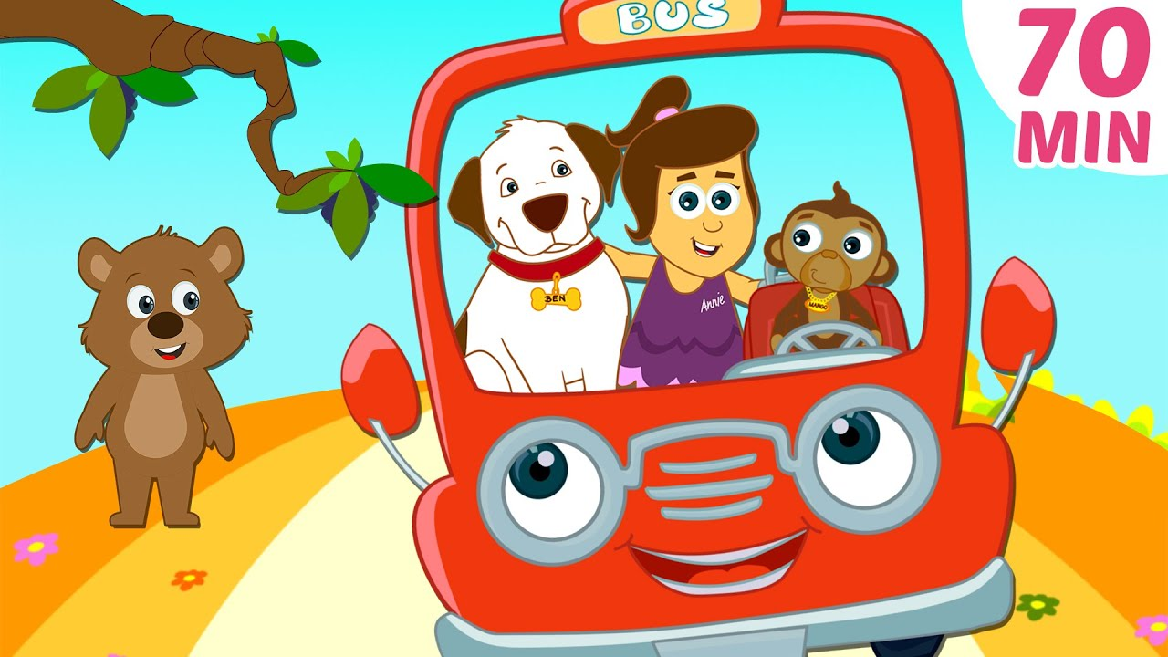 Wheels On The Bus Red Plus More Nursery Rhymes Compilation By Hooplakidz 70 Mins You