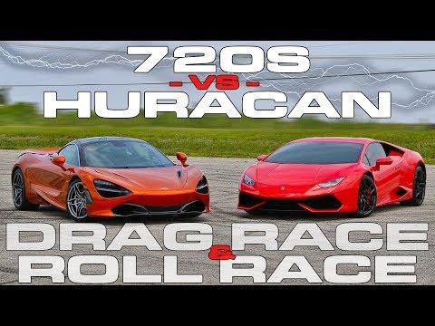 McLaren 720S vs Lamborghini Huracan LP610-4 1/2 Mile Drag and Roll Races