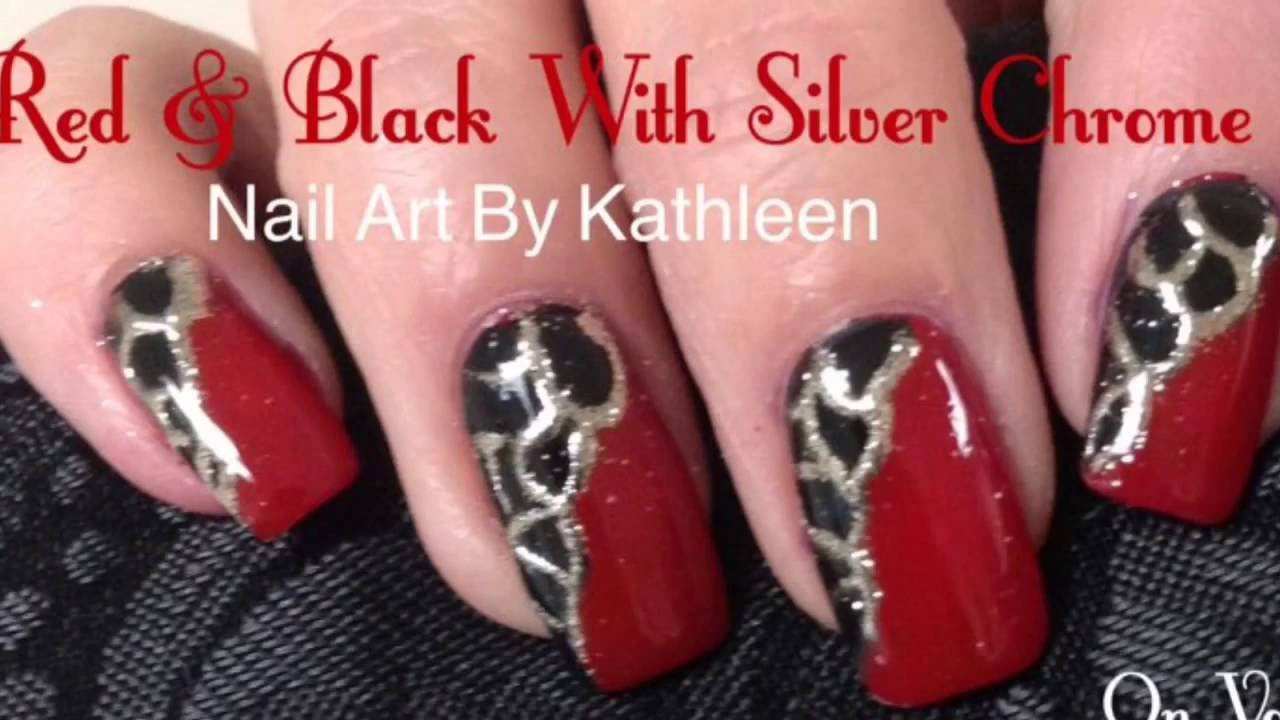 Red Black Nails With Silver Chrome Design Diy Nail Art Tutorial