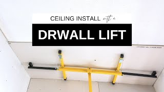 Using a drywall lift to install drywall on 12 ft ceilings | Plus, drywall vs. plaster and wallpaper