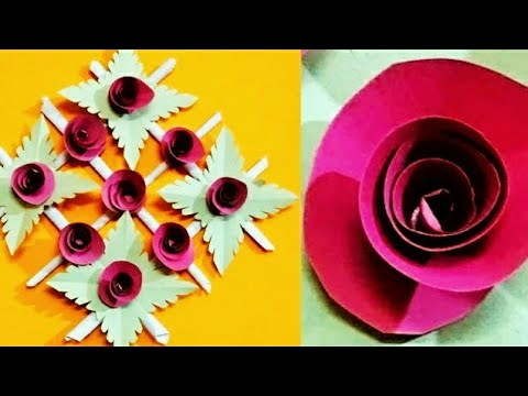 Paper Flower Wall Hanging Craft | EASY and Simple Wall / home Decoration Ideas - Paper art & craft