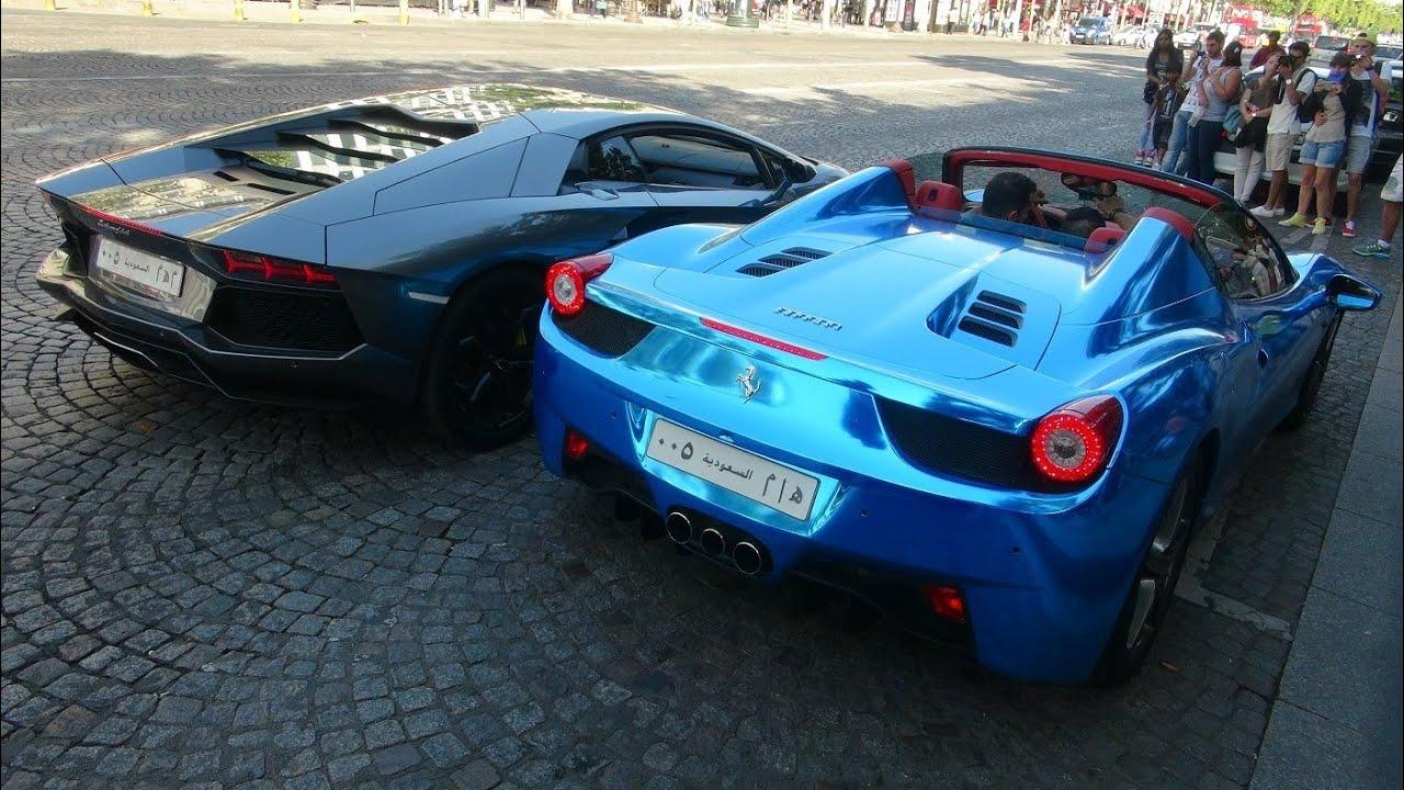 chrome blue ferrari 458 spider lamborghini aventador saudi cars youtube - Lamborghini Aventador Blue Chrome
