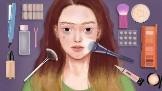 Makeup Animation ASMR // NERDIE to CLASSY makeup // Etude Leather Shop Autumn makeup stop motion