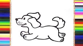 Как нарисовать собаку/ мультик раскраска собака для детей / учим цвета