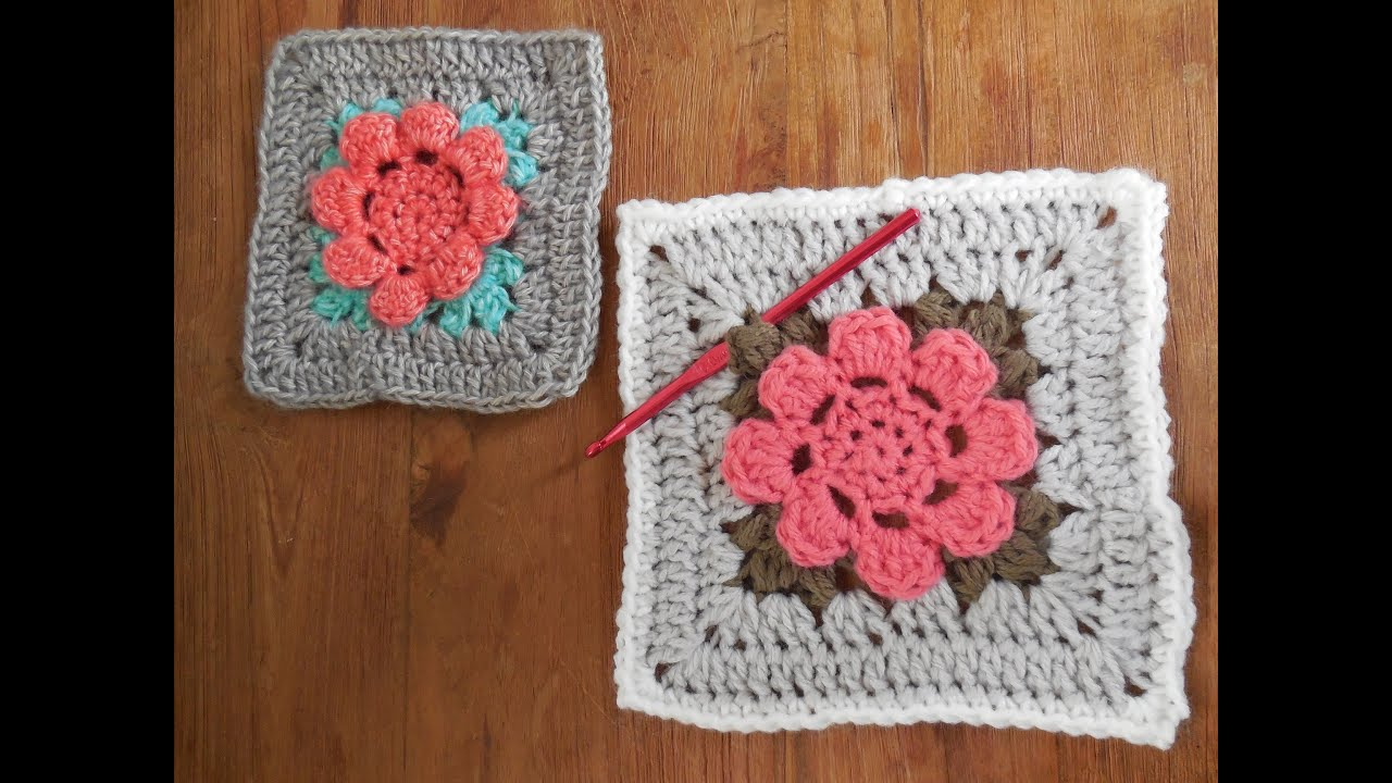 Haken Tutorial Granny Square Met Bloem Youtube