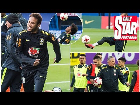 Neymar feeling at home as he trains with brazil at psg's stadium