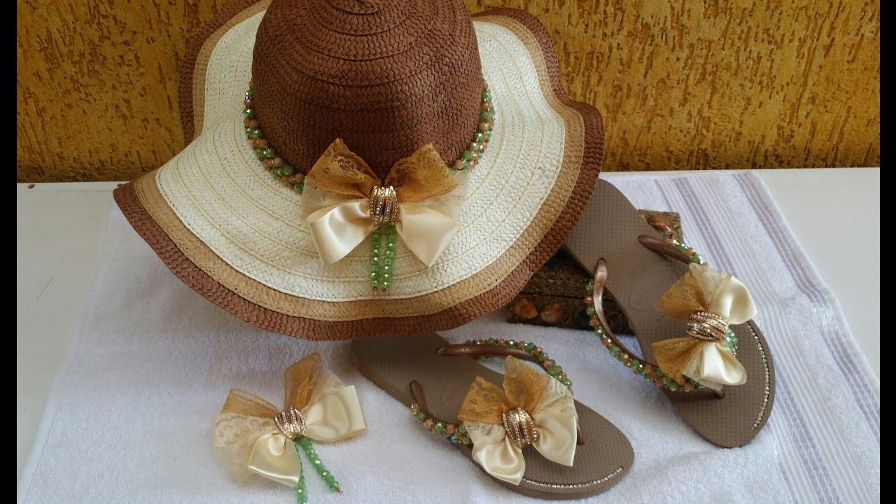 KIT PRAIA MADAME (chapéu +chinelo ) - YouTube 3325a3967f5