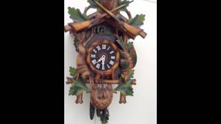 HUNTER STAG MUSICAL CUCKOO WALL CLOCK - OAK PLAYS 2 TUNES ebay item no. 290760985000