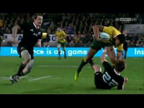 Israel Folau intercept - cover tackle Barrett and Smith NZ vs Aus TRC 28 08 2014