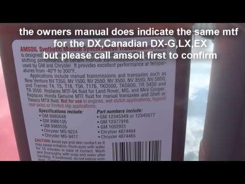 how to change manual transmission fluid Honda Civic 2006- 2011