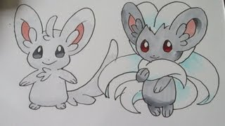 How to draw Pokemon: No.572 Minccino, No.573 Cinccino