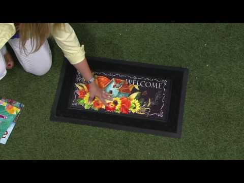 Sassafras Door Mat with 3 Decorative Inserts by Evergreen on QVC