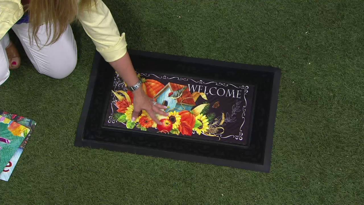 Sassafras Door Mat With 3 Decorative Inserts By Evergreen On QVC   YouTube