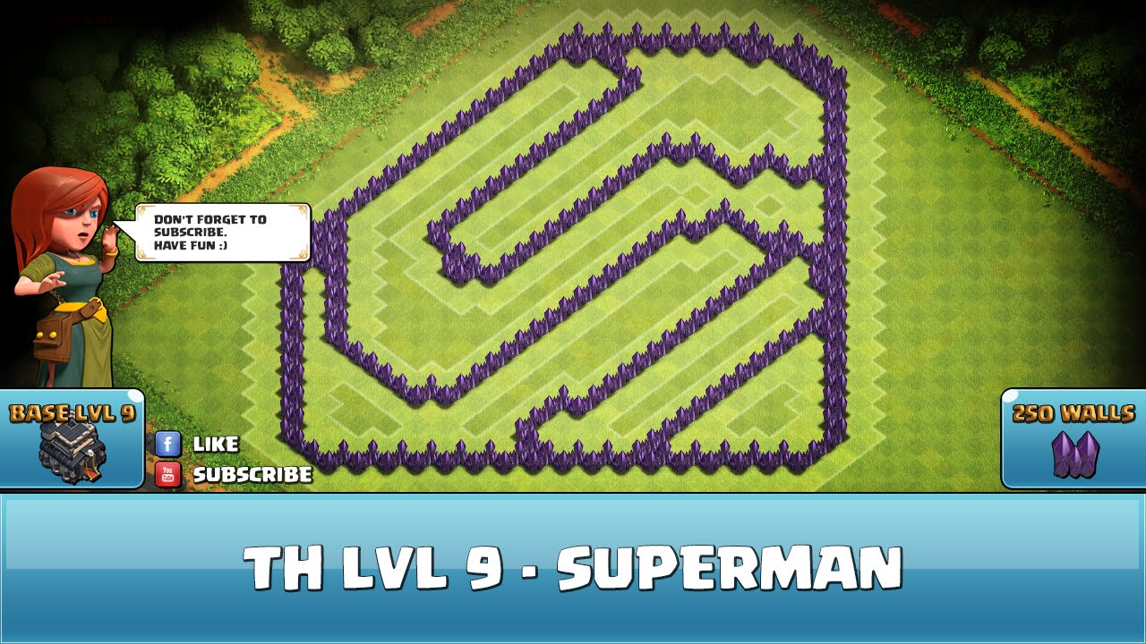 Clash of Clans Troll Base ★ TH9 - Superman - Defense - YouTube