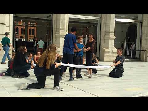 An act outside Victoria and Albert museum.