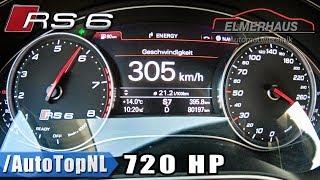 Audi RS6 720HP Elmerhaus 0-305km/h ACCELERATION on AUTOBAHN by AutoTopNL