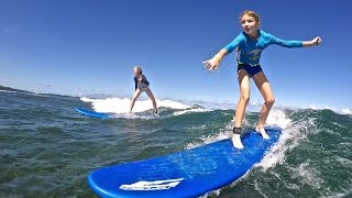 Callie and Izzy Surfing at GoodWinds in Puerto Rico