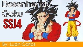 Desenhando Goku SSJ4 por Luan Carlos - Speed Drawing Goku SSJ4 by Luan Carlos