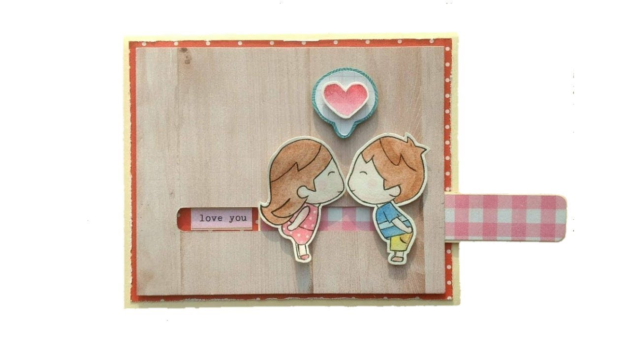 Tutorial Diy Slider Card Handmade Love Diy Gifts For Boyfriend Slider Cards Love Scrapbook