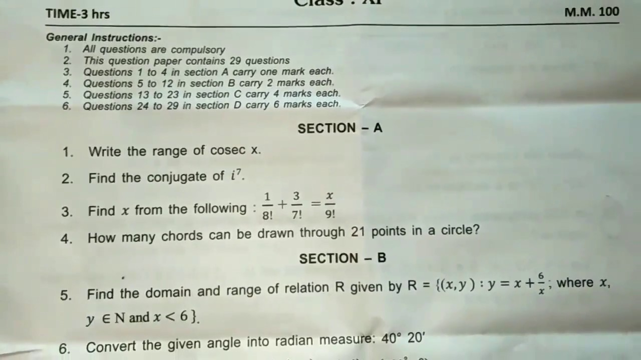 Maths very Important questions class 11 Original Question paper 2017-2018
