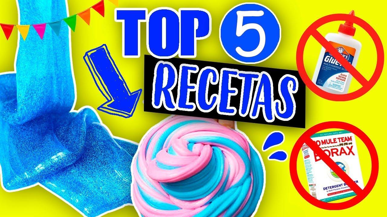 Top 5 Recetas Slime 2 Ingredientes Sin Pegamento No Borax Detergente Solución Youtube