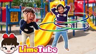 훌라후프 100만번 돌리기! 라임vs 아빠 훌라후프 대결 장난감 놀이 LimeTube toy review