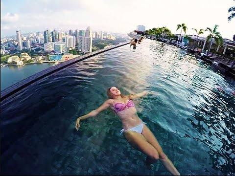 The worlds highest infinity pool at MARINA BAY SANDS YouTube