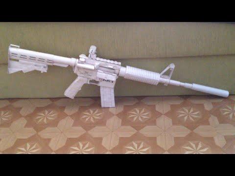 How to make a paper gun that shoots (M4 assault rifle).