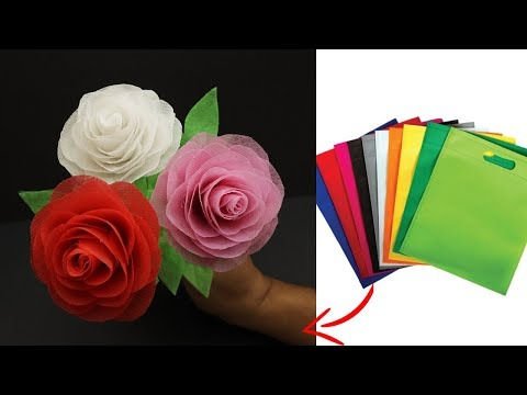 Shopping Bag Flower | How To Make Rose With Shopping Bag | Best Out of Waste