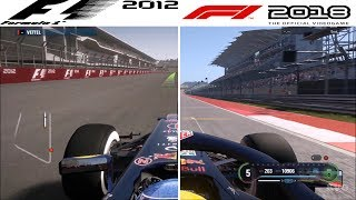 F1 Game Comparison (2012 - 2018 | Circuit of The Americas | US GP Hotlaps)