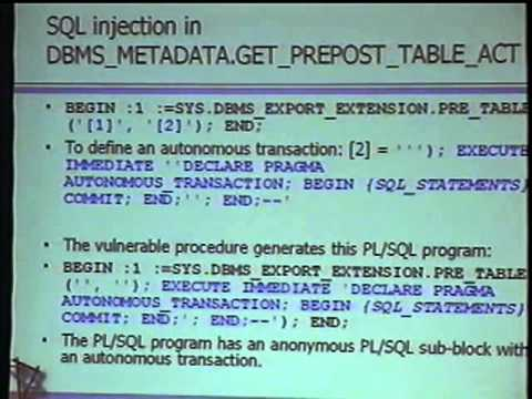 Black Hat USA 2005 - Advanced SQL Injection in Oracle Databases
