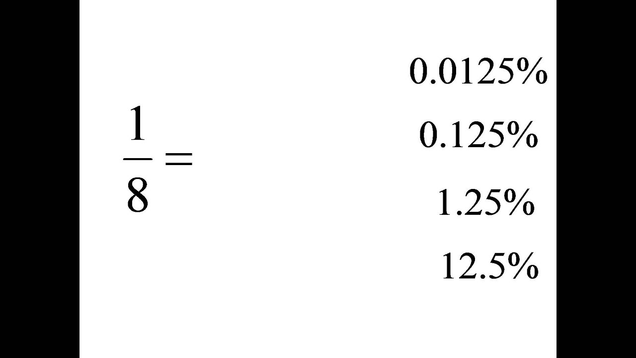 1/8=?% Convert fractions to percents. Multiple choice