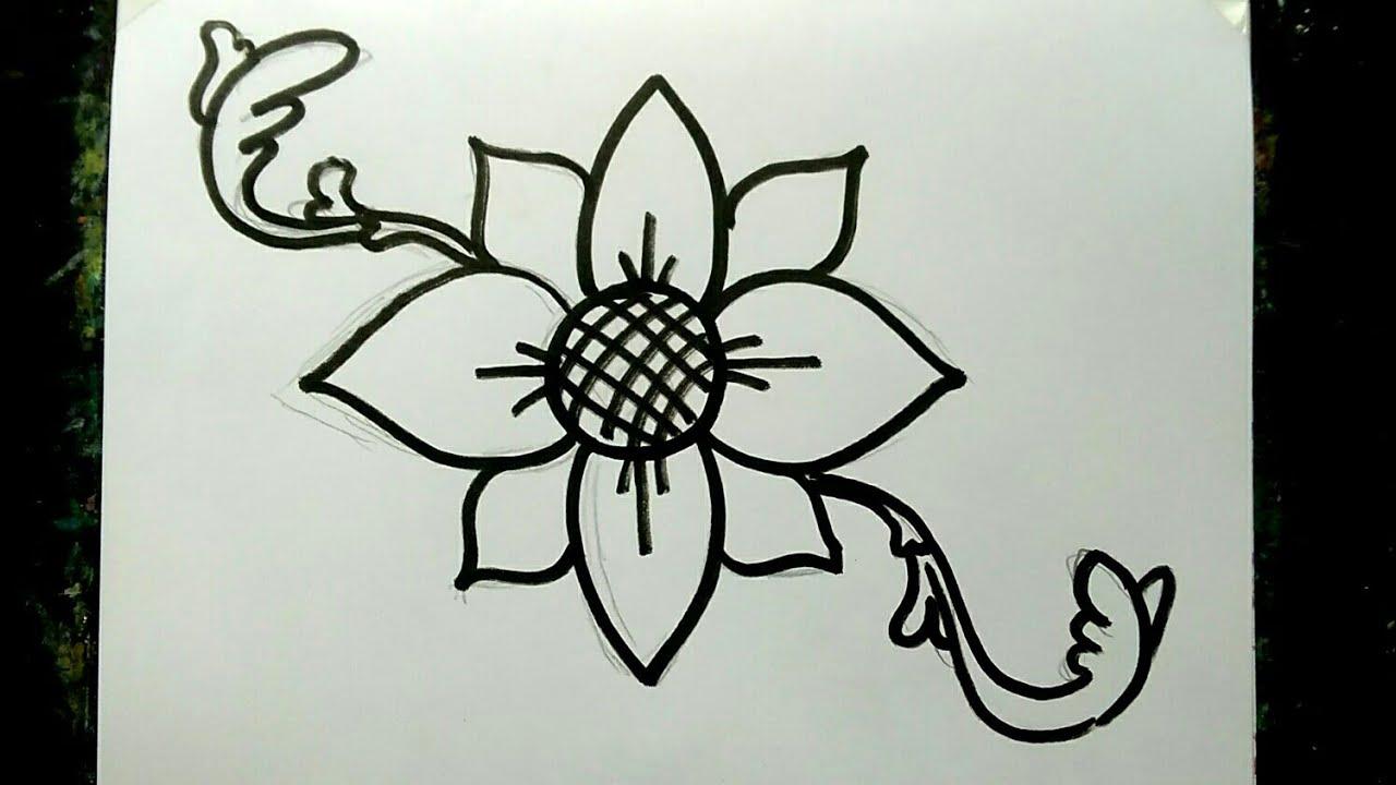Cara Membuat Gambar Ragam Hias Flora Sederhana