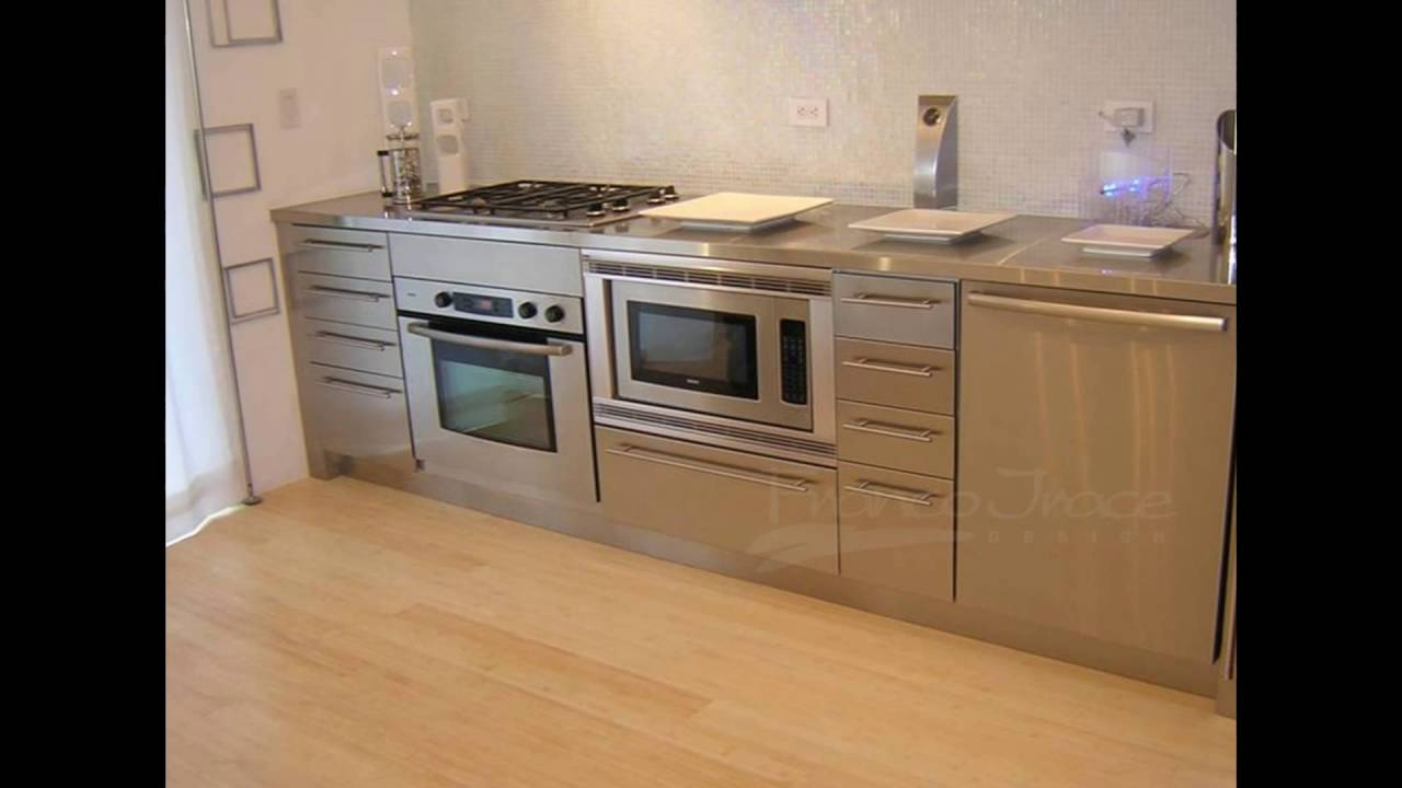 stainless steel cabinets kitchen - YouTube