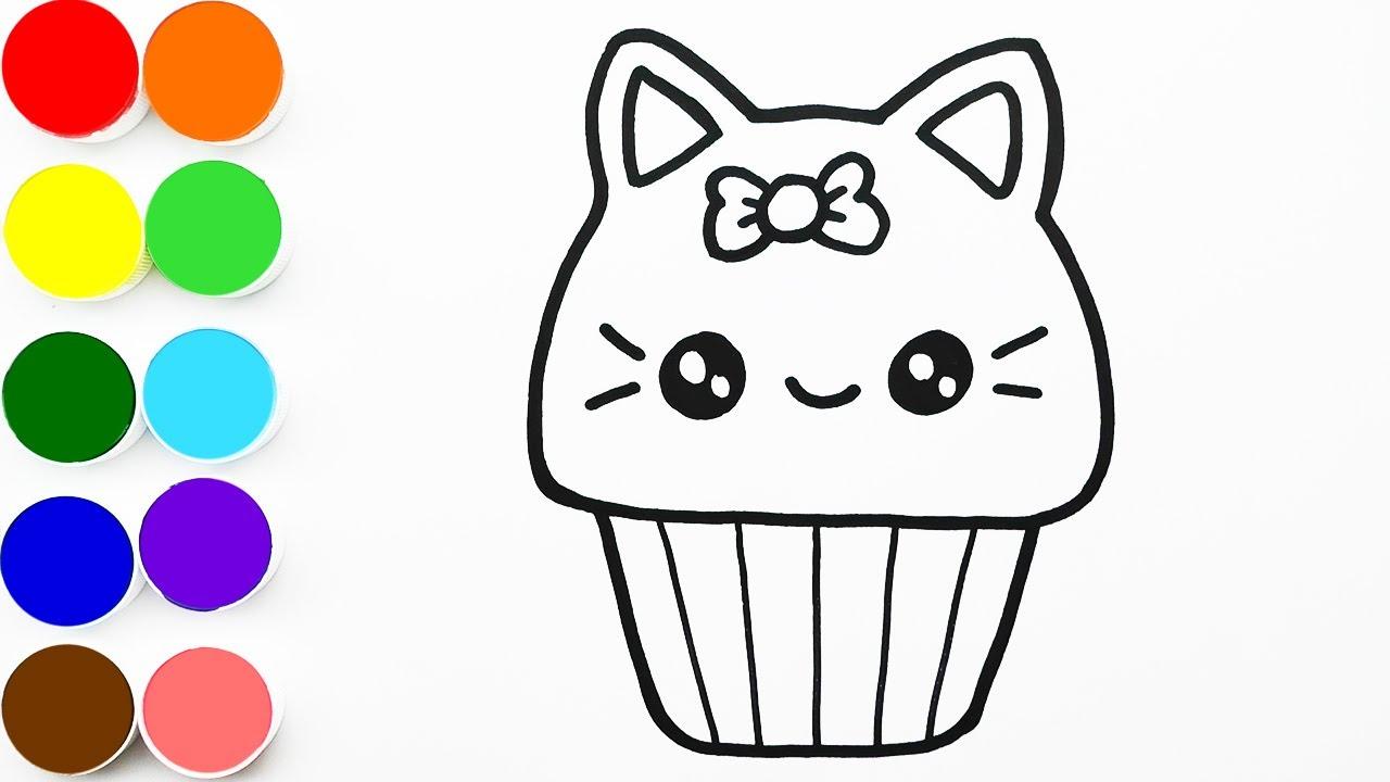 Como Dibujar y Colorear un Gato Cupcake - Dibujos Para Niños - Learn Colors / FunKeep Art
