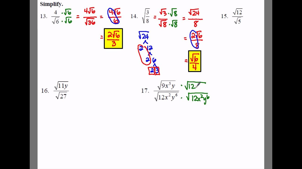 Algebra 1 102 Notes Example 3 Simplifying Radical Expressions – Simplifying Radical Expressions Worksheet