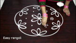 easy rangoli designs with 7x4 dots || simple kolam designs with dots || chukkala muggulu designs