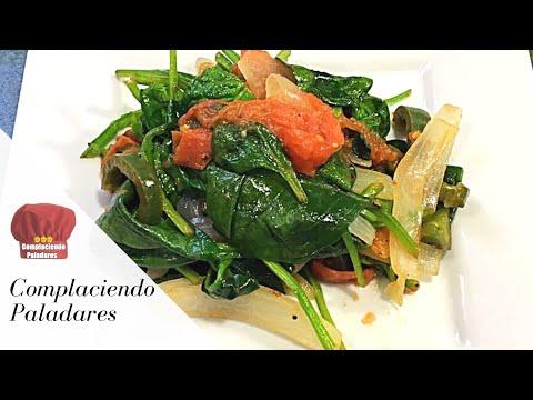 COMO HACER ESPINACAS A LA MEXICANA receta saludable   Spinach Mexican Style -Complaciendo Paladares