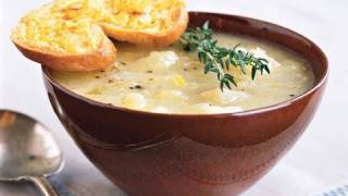 Golden Potato-leek Soup With Cheddar Toast Recipe