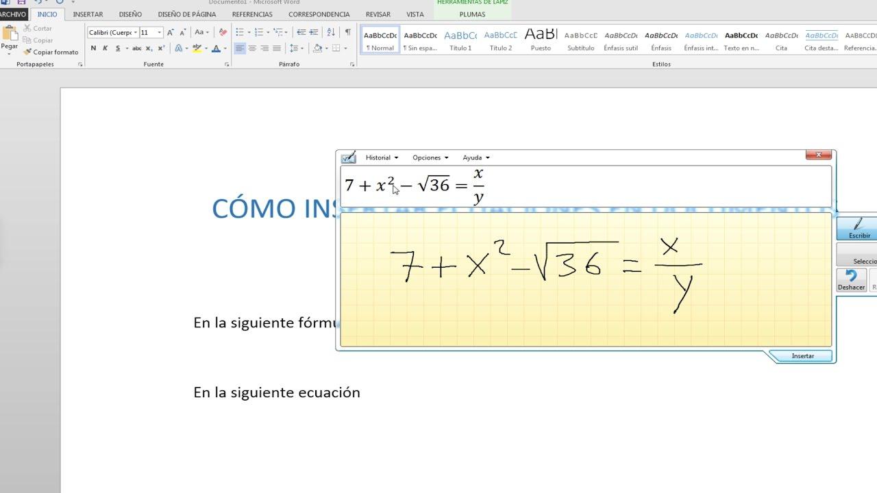 Insertar Ecuaciones Fracciones Y Formulas En Word A Mano Con Panel