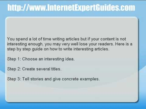Article Writing Tip - How to Make Your Content Interesting