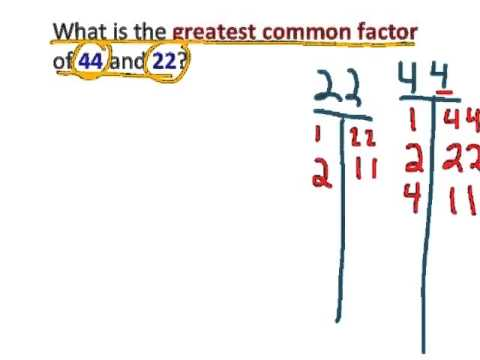 Greatest Common Factor 44 And 22 Tek6 1e Youtube