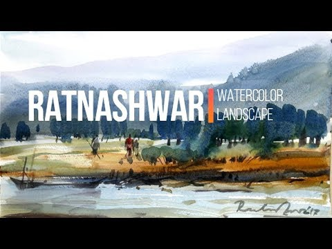 Watercolor landscape painting-1, demo by Ratnashwar Sutradhwar