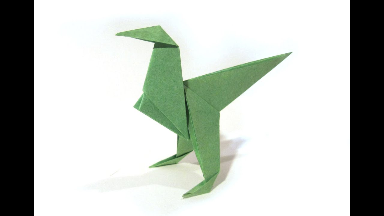 Origami Dinosaur Velociraptor - easy origami - How to make ... - photo#1