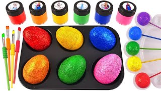 Satisfying Video l How to make Rainbow Lollipop Candy and Glossy Balls into Playdoh Cutting ASMR #57