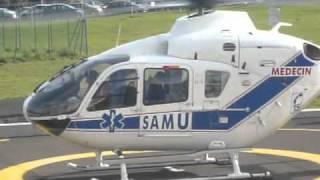 Atterrissage HELISAMU Aurillac au CHU de Clermont-Ferrand