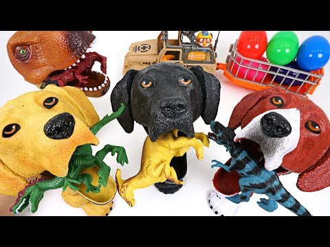 Thumbnail: Dinosaurs are trying to take surprise egg! Crazy hungry dog and dinosaur summon! - DuDuPopTOY